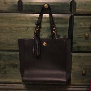 Tory Burch smooth leather and suede tote